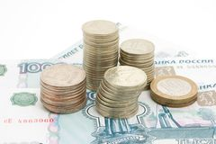Denomination and coins Stock Photos