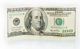 The denomination of one hundred dollars. Stock Photography