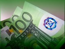 One hundred euros is good, but two hundred is better. A denomination of one hundred euros prevails over the design of the others. The whole secret in green color Royalty Free Stock Photography