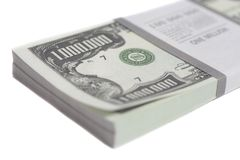 Denomination in one million dollars bills with tape. Isolated on white background royalty free stock photos