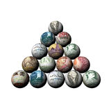 Denominations of the countries on billiard spheres Royalty Free Stock Photos