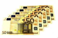 Denominations of 50 euros. Stock Photos