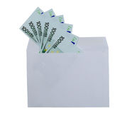Denominations of 100 euros from the envelope Stock Photos