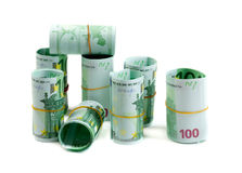 Denominations, 100 euros rolls. Stock Photos
