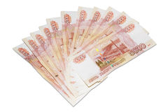 Denominations of five thousand rubles Royalty Free Stock Photo