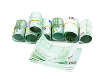 Denominazioni, 100 rotoli degli euro Isolato su bianco Immagine Stock Libera da Diritti