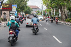 DENPASAR, BALI, INDONESIA - AUGUST 15, 2016 - Indonesia island congested traffic Royalty Free Stock Photography