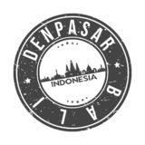Denpasar Bali Indonesia Round Button City Skyline Design Stamp Vector Travel Tourism. Skyline with emblematic Buildings and Monuments of this famous city vector illustration