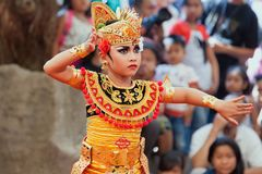 Beautiful young Balinese woman in ethnic dancer costume royalty free stock photo