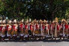 DENPASAR/BALI-JUNE 15 2019: Baris Gede dancers are lining up preparing for the show at the opening ceremony of the Bali Arts stock images