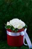 Dense bouquet of peony roses in a red box. A dense bouquet of peony roses in a red round box Stock Image