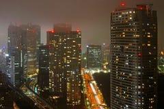 Dense buildings in Minato-ku, night time Tokyo Stock Photos