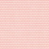Dense cream white rows of hearts in horizontal brick repeat design. Seamless geometric vector pattern on textured pink stock illustration