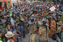 A dense crowd dancing at Inti Raymi celebration Royalty Free Stock Photos
