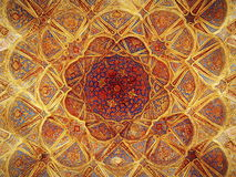 Dense decorations on top floor of Ali Qappu palace of Isfahan Royalty Free Stock Images