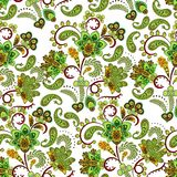 Dense floral ornamental hand draw fantasy flowers pattern. Vector stock photo