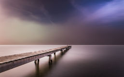 Dense fog at the break of dawn in color Royalty Free Stock Images