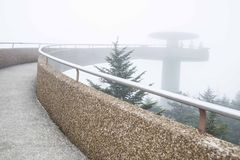 A dense fog covers the lookout tower at Clingman`s Dome. royalty free stock photos