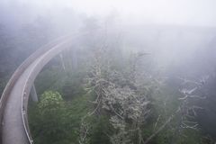 A dense fog covers the lookout tower at Clingman`s Dome. stock photos