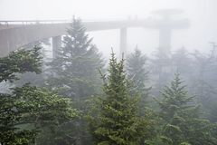 A dense fog covers the lookout tower at Clingman`s Dome. stock images