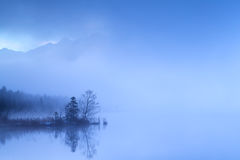 Dense fog in dusk over alpine lake Royalty Free Stock Photography