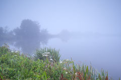 Dense fog over river Royalty Free Stock Images