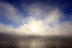 Dense fog over the river Royalty Free Stock Photography