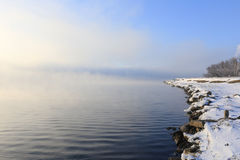 Dense fog over the river Royalty Free Stock Images