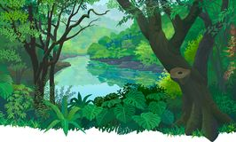 Dense, green tropical forest and a flowing fresh water river. royalty free illustration