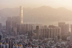 Dense high rise apartments in Kowloon peninsula view from Beacon Hill in the evening, Hong Kong.  Royalty Free Stock Photos