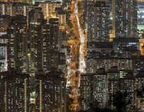 Dense high rise apartments in Kowloon peninsula view from Beacon Hill in the evening, Hong Kong.  Stock Photography