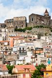 Dense houses in ancient sicilian mountain town Stock Images