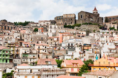 Dense houses in ancient sicilian mountain town Royalty Free Stock Photos