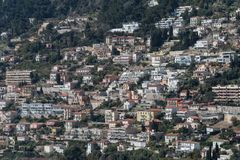 Dense housing in hillside, French Riviera. A cluster of residential buildings in French Riviera, France, Alpes Maritimes, Roquebrune Cap Martin stock photo