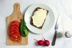 Dense rye whole-grain rye bread with creamy cheese royalty free stock image