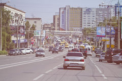 Dense traffic in the centre of the city on Lenin Avenue. Stock Images