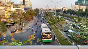 Dense Traffic at evening rush hour in Ho-Chi-Minh-City Stock Photography