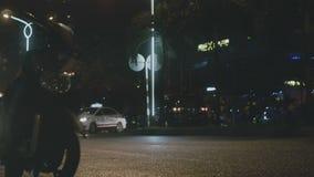Dense traffic at night stock footage