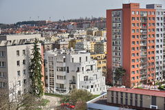 Dense urban area with massive row houses in the city of Prague (Czech Republic) from an aerial view Stock Image