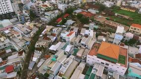 Dense urban development. Real Vietnamese life. Densely built buildings in one of the Vietnamese cities stock video