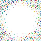 Dense watercolor confetti on white background. Rainbow colored watercolor confetti bordered frame. Colorful hand painted illustration Stock Photo