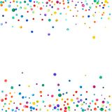 Dense watercolor confetti on white background. Rainbow colored watercolor confetti scattered border. Colorful hand painted illustration Royalty Free Stock Photography