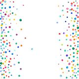 Dense watercolor confetti on white background. Rainbow colored watercolor confetti scattered frame. Colorful hand painted illustration Stock Photos
