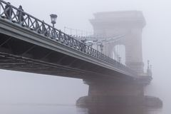 Dense winter fog in Budapest Royalty Free Stock Images