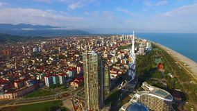Densely built-up Black Sea resort city, Batumi Georgia aerial view, real estate. Stock footage stock video footage