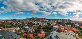 Densely packed houses on the hills of Antananarivo Stock Images