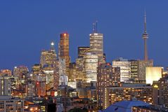 Densely Packed Toronto. This image was taken in Toronto, Canada and shows the city illuminated at sunset Stock Photos