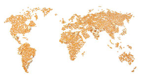 Densely populated areas. World megalopolises where the corn has symbolically exploded Stock Image