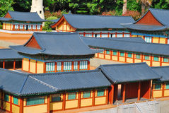 Densely populated temple compound stock images
