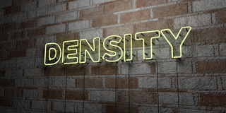 DENSITY - Glowing Neon Sign on stonework wall - 3D rendered royalty free stock illustration. Can be used for online banner ads and direct mailers Royalty Free Stock Photo